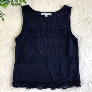 Ann Taylor loft navy blue tank top small petite